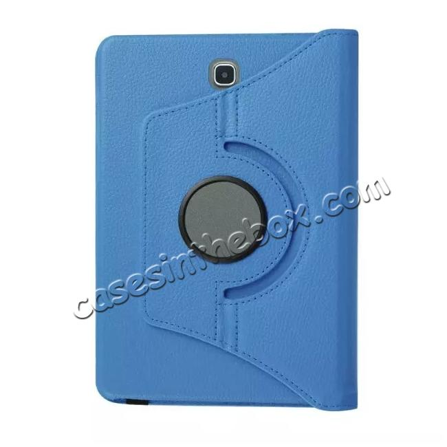 low price 360 Degree Rotating Leather Smart Case For Samsung Galaxy Tab S2 9.7 T815 - Light blue