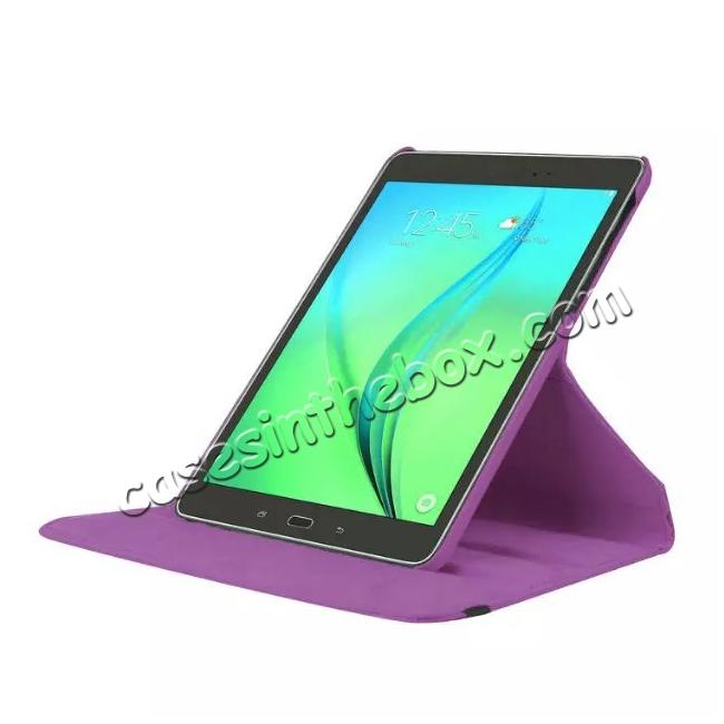 top quality 360 Degree Rotating Leather Smart Case For Samsung Galaxy Tab S2 9.7 T815 - Purple