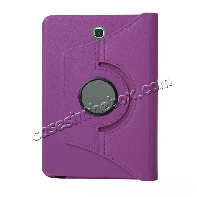 low price 360 Degree Rotating Leather Smart Case For Samsung Galaxy Tab S2 9.7 T815 - Purple