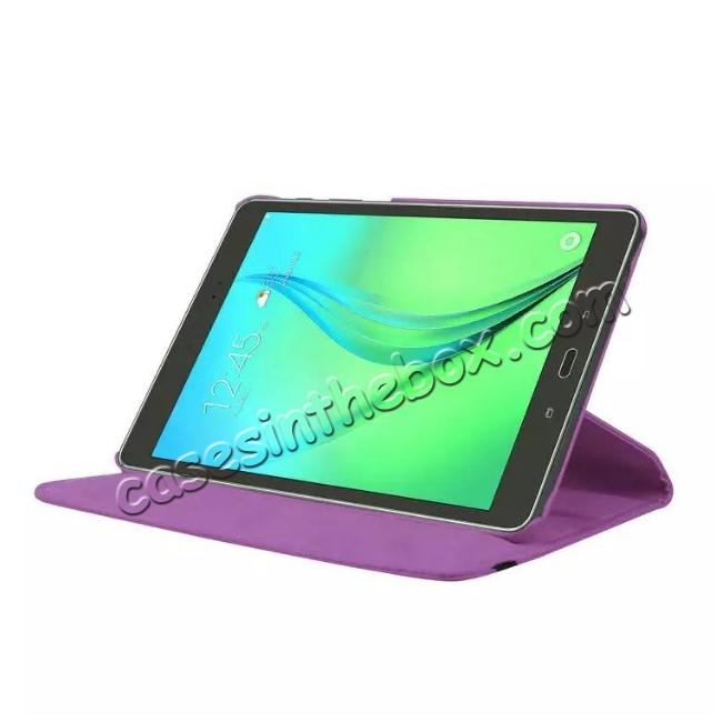 discount 360 Degree Rotating Leather Smart Case For Samsung Galaxy Tab S2 9.7 T815 - Purple