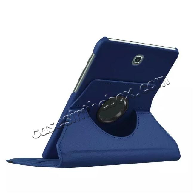best price 360 Degrees Rotating Stand Leather Case For Samsung Galaxy Tab S2 8.0 T715 - Dark blue