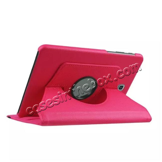 cheap 360 Degrees Rotating Stand Leather Case For Samsung Galaxy Tab S2 8.0 T715 - Hot pink
