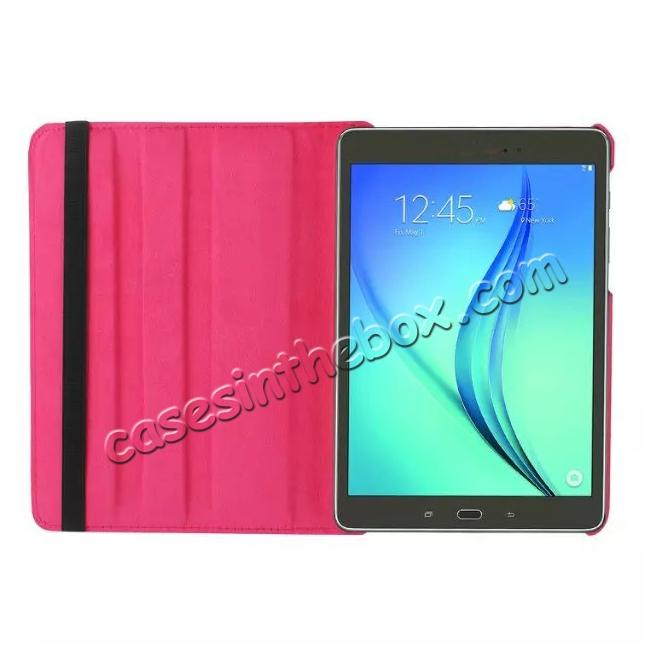 on sale 360 Degrees Rotating Stand Leather Case For Samsung Galaxy Tab S2 8.0 T715 - Hot pink