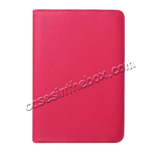 low price 360 Degrees Rotating Stand Leather Case For Samsung Galaxy Tab S2 8.0 T715 - Hot pink