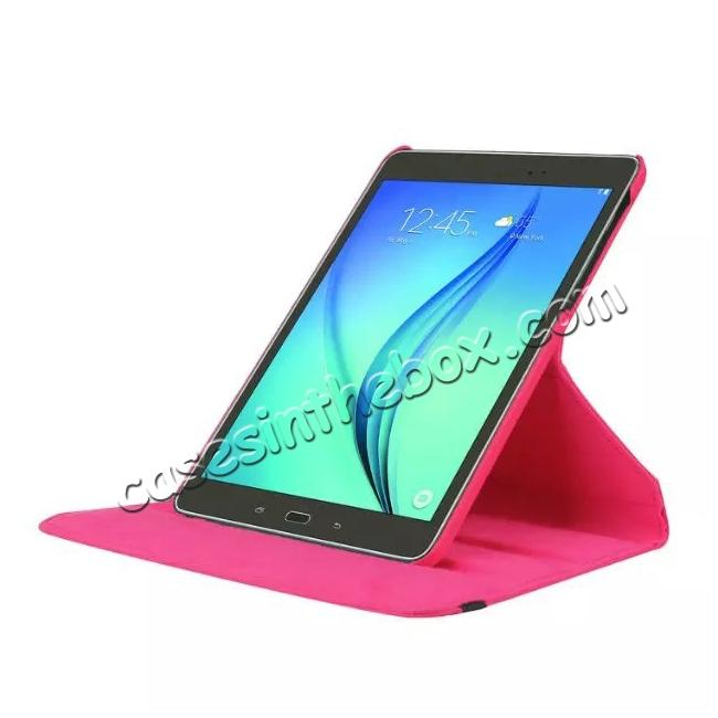 top quality 360 Degrees Rotating Stand Leather Case For Samsung Galaxy Tab S2 8.0 T715 - Hot pink