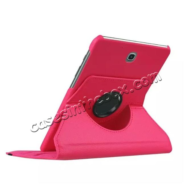 best price 360 Degrees Rotating Stand Leather Case For Samsung Galaxy Tab S2 8.0 T715 - Hot pink