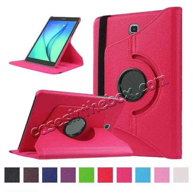 wholesale 360 Degrees Rotating Stand Leather Case For Samsung Galaxy Tab S2 8.0 T715 - Hot pink