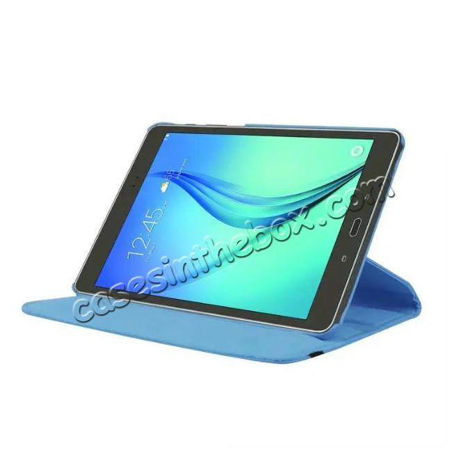 discount 360 Degrees Rotating Stand Leather Case For Samsung Galaxy Tab S2 8.0 T715 - Light blue