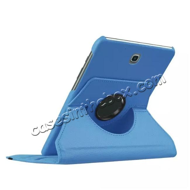 best price 360 Degrees Rotating Stand Leather Case For Samsung Galaxy Tab S2 8.0 T715 - Light blue