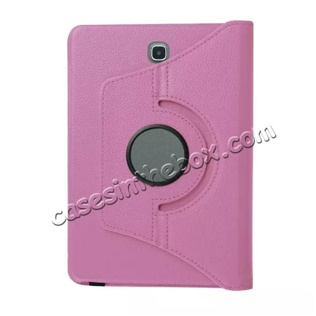 low price 360 Degrees Rotating Stand Leather Case For Samsung Galaxy Tab S2 8.0 T715 - Pink