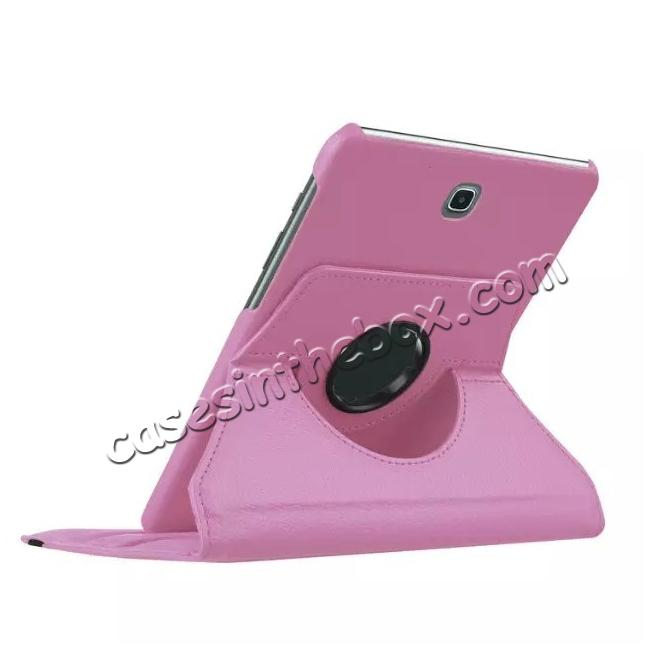 best price 360 Degrees Rotating Stand Leather Case For Samsung Galaxy Tab S2 8.0 T715 - Pink