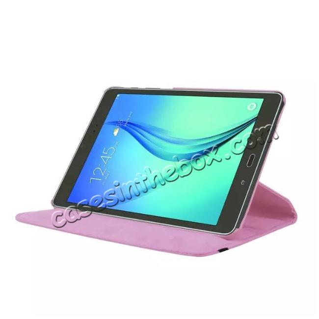 discount 360 Degrees Rotating Stand Leather Case For Samsung Galaxy Tab S2 8.0 T715 - Pink
