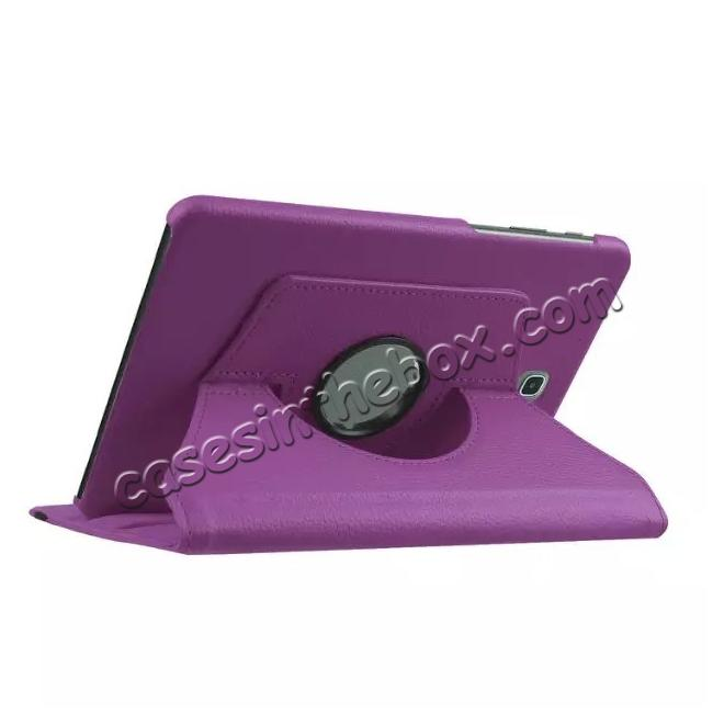 cheap 360 Degrees Rotating Stand Leather Case For Samsung Galaxy Tab S2 8.0 T715 - Purple