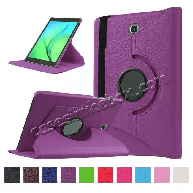 wholesale 360 Degrees Rotating Stand Leather Case For Samsung Galaxy Tab S2 8.0 T715 - Purple