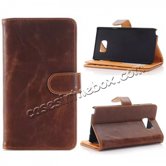 wholesale Crazy Horse Flip Stand Leather Case for Samsung Galaxy Note 5 With Dual Layer Credit Card Holder - Coffee