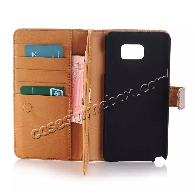 top quality Crazy Horse Flip Stand Leather Case for Samsung Galaxy Note 5 With Dual Layer Credit Card Holder - Coffee