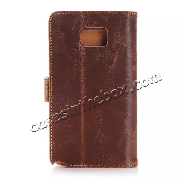 best price Crazy Horse Flip Stand Leather Case for Samsung Galaxy Note 5 With Dual Layer Credit Card Holder - Coffee