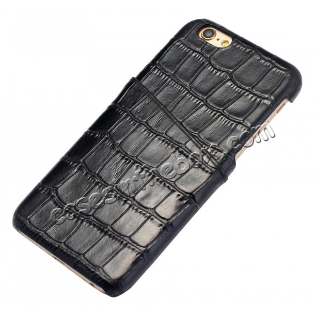 wholesale Crocodile Pattern Genuine Real Leather Back Cover Case for iPhone 6/6S 4.7inch - Black