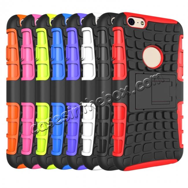 discount Shockproof Dual Layer Hybrid Case With Built In Stand For iPhone 6S - Black
