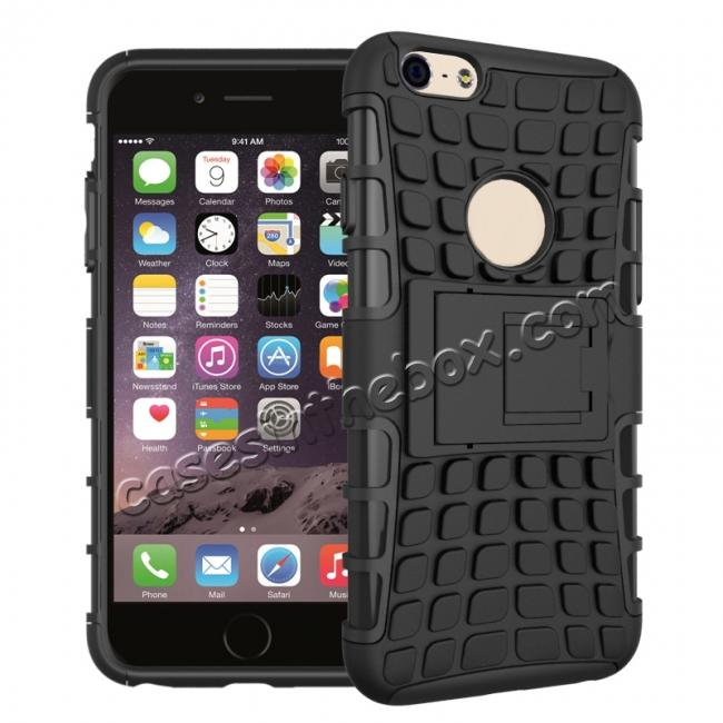wholesale Shockproof Dual Layer Hybrid Case With Built In Stand For iPhone 6S - Black