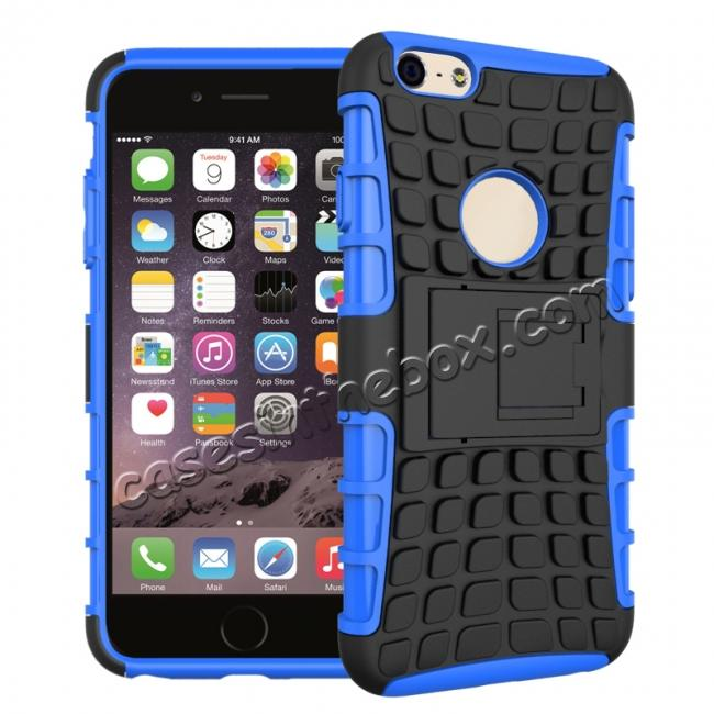 wholesale Shockproof Dual Layer Hybrid Case With Built In Stand For iPhone 6S - Blue