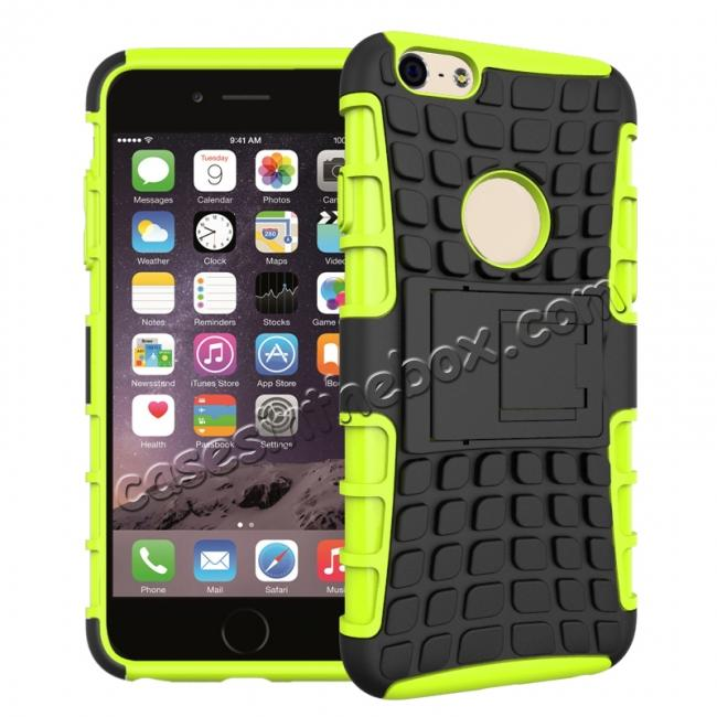 wholesale Shockproof Dual Layer Hybrid Case With Built In Stand For iPhone 6S - Green