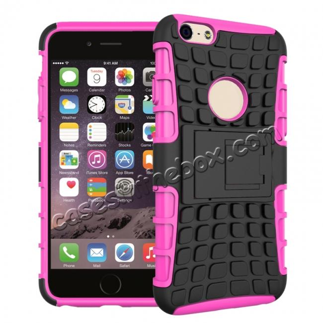 wholesale Shockproof Dual Layer Hybrid Case With Built In Stand For iPhone 6S - Hot pink