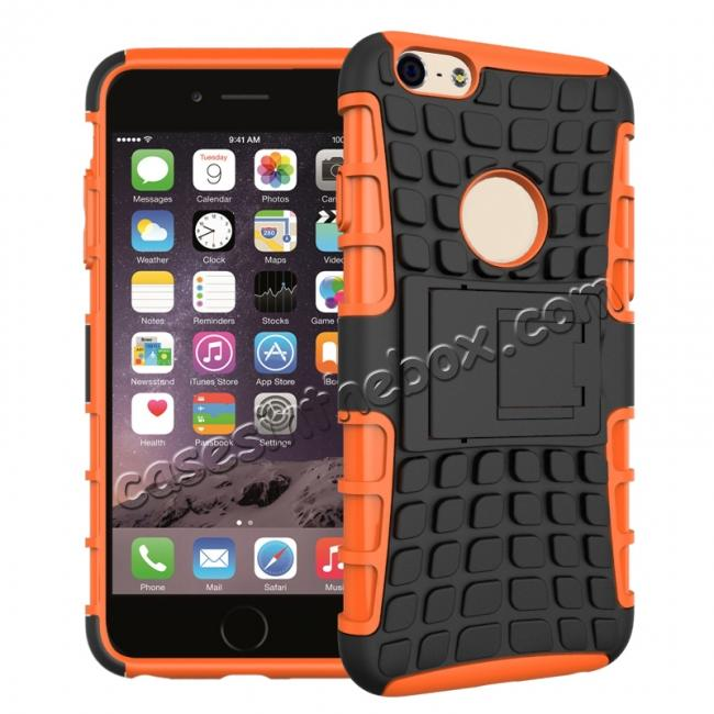 wholesale Shockproof Dual Layer Hybrid Case With Built In Stand For iPhone 6S - Orange