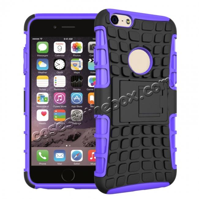 wholesale Shockproof Dual Layer Hybrid Case With Built In Stand For iPhone 6S - Purple