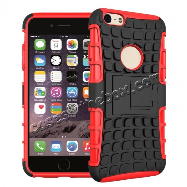 wholesale Shockproof Dual Layer Hybrid Case With Built In Stand For iPhone 6S - Red