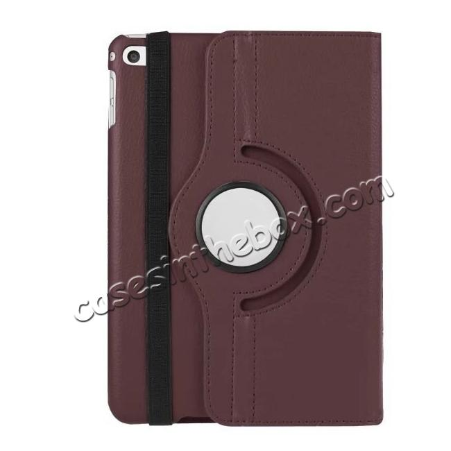 best price 360 Degrees Rotating Smart Stand Leather Case For iPad mini 4 - Brown