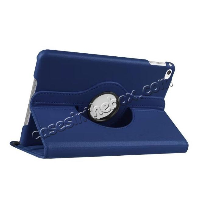 wholesale 360 Degrees Rotating Smart Stand Leather Case For iPad mini 4 - Dark blue