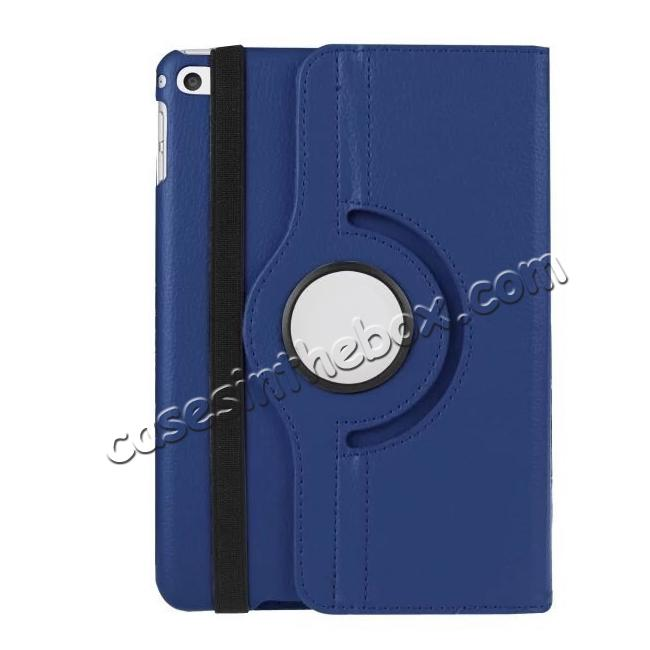 best price 360 Degrees Rotating Smart Stand Leather Case For iPad mini 4 - Dark blue