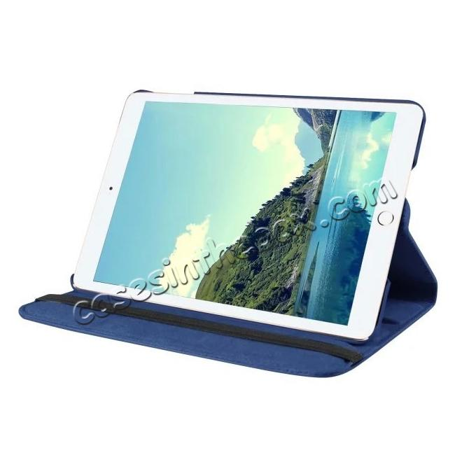 cheap 360 Degrees Rotating Smart Stand Leather Case For iPad mini 4 - Dark blue