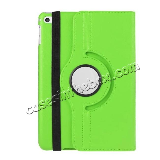 best price 360 Degrees Rotating Smart Stand Leather Case For iPad mini 4 - Green