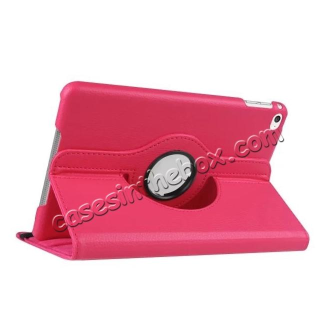wholesale 360 Degrees Rotating Smart Stand Leather Case For iPad mini 4 - Hot pink