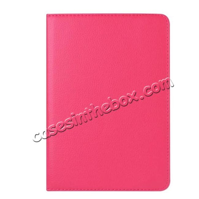 on sale 360 Degrees Rotating Smart Stand Leather Case For iPad mini 4 - Hot pink