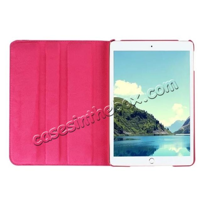 top quality 360 Degrees Rotating Smart Stand Leather Case For iPad mini 4 - Hot pink
