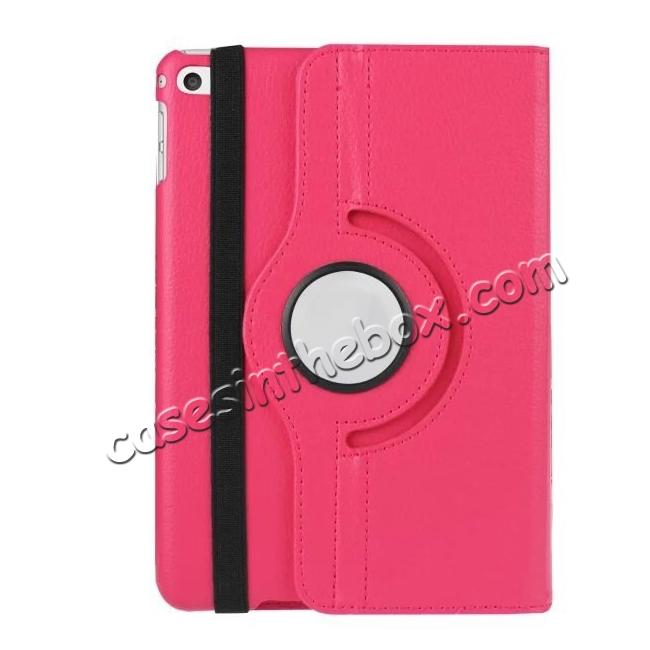 best price 360 Degrees Rotating Smart Stand Leather Case For iPad mini 4 - Hot pink