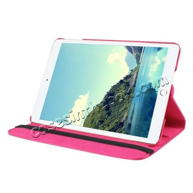 discount 360 Degrees Rotating Smart Stand Leather Case For iPad mini 4 - Hot pink