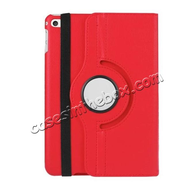 best price 360 Degrees Rotating Smart Stand Leather Case For iPad mini 4 - Red