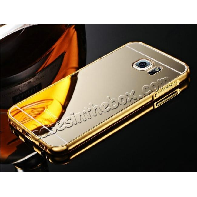 wholesale Aluminum Metal Bumper with Mirror Acrylic Plastic Back Cover for Samsung Galaxy S6 - Gold