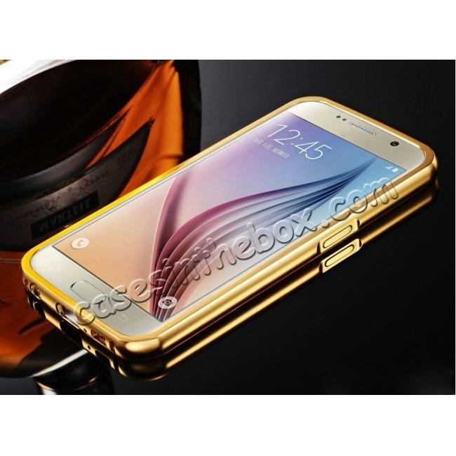 discount Aluminum Metal Bumper with Mirror Acrylic Plastic Back Cover for Samsung Galaxy S6 - Gold