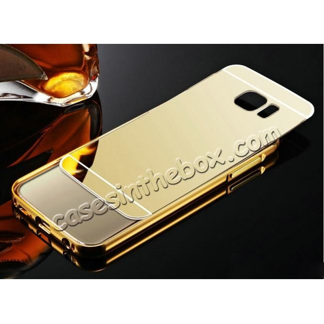 cheap Aluminum Metal Bumper with Mirror Acrylic Plastic Back Cover for Samsung Galaxy S6 - Gold