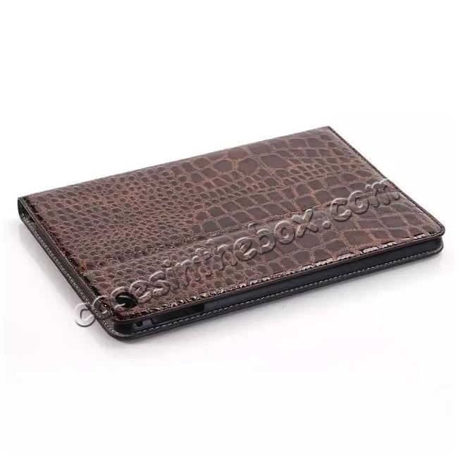 discount Crocodile Pattern PU Leather Wallet Stand Case for iPad Mini 4 - Brown