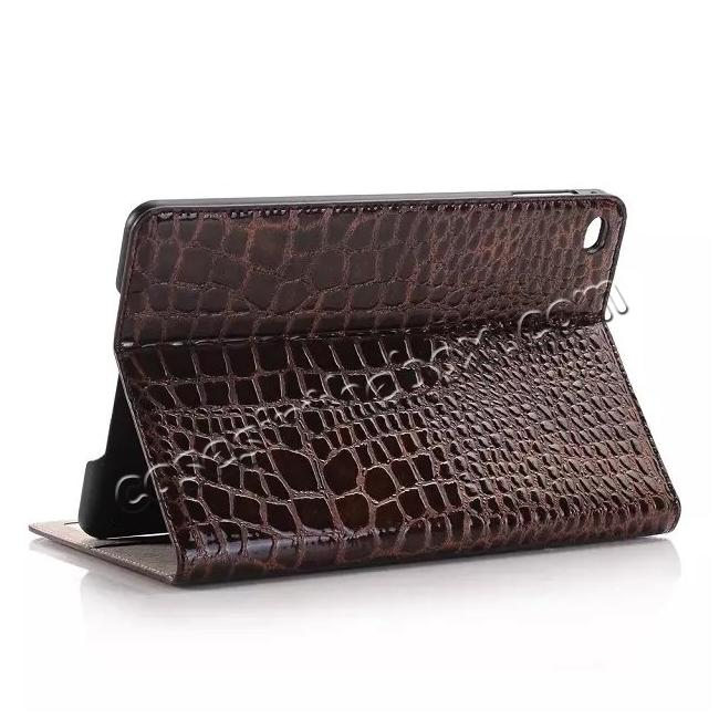 wholesale Crocodile Pattern PU Leather Wallet Stand Case for iPad Mini 4 - Brown