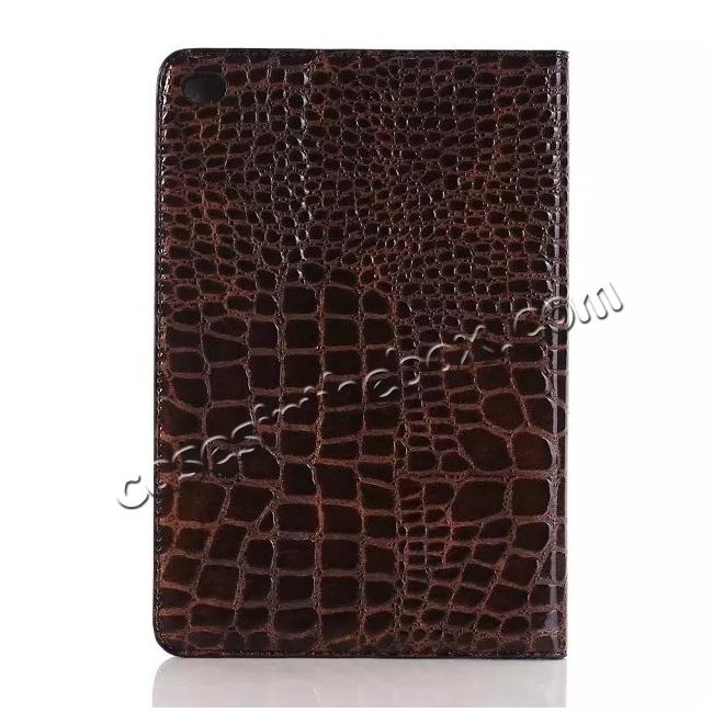 top quality Crocodile Pattern PU Leather Wallet Stand Case for iPad Mini 4 - Brown