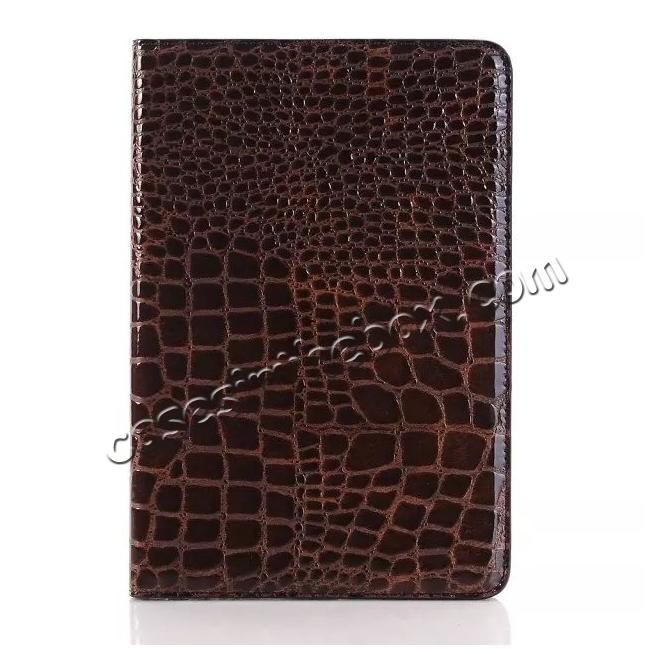 best price Crocodile Pattern PU Leather Wallet Stand Case for iPad Mini 4 - Brown
