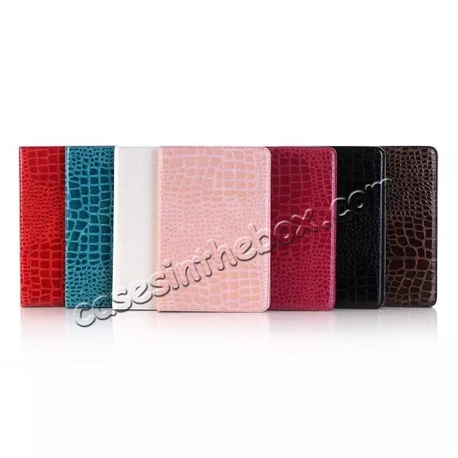 low price Crocodile Pattern PU Leather Wallet Stand Case for iPad Mini 4 - Brown