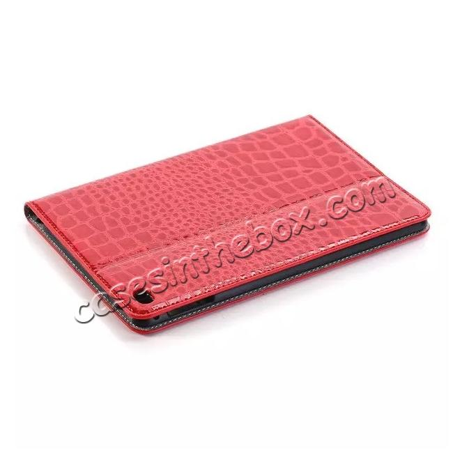 discount Crocodile Pattern PU Leather Wallet Stand Case for iPad Mini 4 - Red